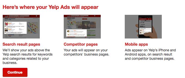 where are yelp ads displayed